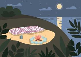 couverture et feu de joie sur l'illustration vectorielle de bord de mer couleur plate. pique-nique sur la plage la nuit. camping d'été, vacances dans la nature. paysage de dessin animé 2d de bord de mer du soir avec la lumière de la lune sur fond vecteur