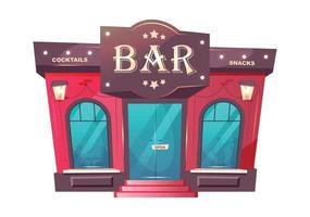 illustration de vecteur de dessin animé entrée bar à cocktails. objet de couleur plat extérieur pub de luxe. façade de bâtiment de brique de café. lieu de boissons de qualité supérieure. entrée du restaurant isolé sur fond blanc