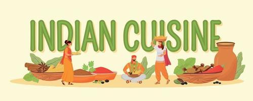 Bannière de vecteur de couleur plat concepts de cuisine indienne. typographie isolée avec de minuscules personnages de dessins animés. Ingrédients de repas traditionnels hindous, illustration créative d'épices orientales sur blanc