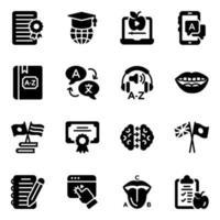jeu d'icônes de langue et de communication vecteur