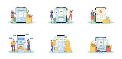 nourriture en ligne commande ensemble d'illustrations vectorielles concept plat. épiciers Internet, cuisine à domicile, métaphores de service de livraison de repas. acheteurs de produits, courrier de restauration rapide et cuisiner des personnages de dessins animés 2d vecteur