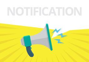 Mégaphone pour la notification Web. Haut-parleur pour l'alerte de notification. vecteur