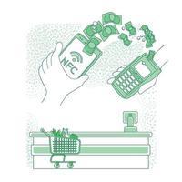 illustration vectorielle de paiement mobile fine ligne concept. personne payant avec smartphone à la caisse de supermarché personnage de dessin animé 2d pour la conception web. nfc, idée créative de transfert d'argent sans contact vecteur