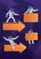 astronaute en combinaison spatiale kit d'illustrations de personnage de dessin animé 2d. cosmonaute avec des flèches et des bannières. prêts à utiliser un modèle de jeu de héros plat comique pour le commercial, l'animation, l'impression vecteur