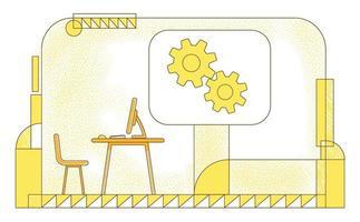 illustration vectorielle de directeur bureau silhouette plate. directeur général, composition de contour de lieu de travail PDG de l'entreprise sur fond jaune espace de travail vide et engrenages dessin de style simple vecteur