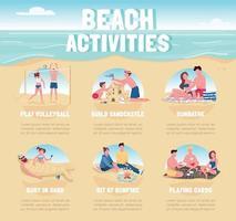 activités de plage modèle d & # 39; infographie informationnel vecteur couleur plat. affiche de loisirs d'été, livret, conception de concept de page ppt avec des personnages de dessins animés. dépliant publicitaire, dépliant, idée de bannière d'informations