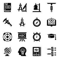jeu d & # 39; icônes de matériel et de connaissances de physique vecteur