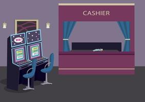 machines à sous ligne illustration vectorielle de couleur plate. établissement de jeux. divertissement d'hôtel de luxe. jeu de hasard pour gagner de l'argent. Salle de casino intérieur de dessin animé 2d avec comptoir sur fond