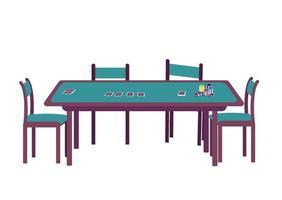 illustration vectorielle de casino dessin animé. jeu de hasard au blackjack. distribuer un jeu de cartes. pile de jetons. table de poker verte avec objet couleur plat à quatre sièges. bureau pour le jeu isolé sur fond blanc vecteur