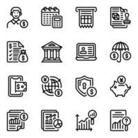jeu d'icônes de banque et finance en ligne vecteur