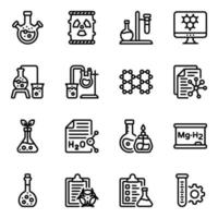 jeu d'icônes d'éléments de laboratoire de chimie vecteur