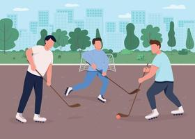 illustration vectorielle de hockey sur gazon plat couleur vecteur