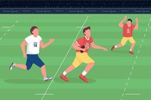 illustration vectorielle de rugby union plat couleur vecteur