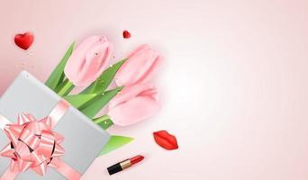 fond de félicitations de vacances roses heureux jour des femmes avec des tulipes et une boîte-cadeau. illustration vectorielle vecteur