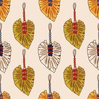 Modèle sans couture macramé tenture murale-vector illustration doodle isoler sur fond blanc vecteur