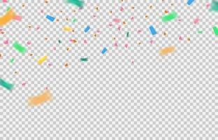 éléments de confettis tombant sur fond transparent. vecteur