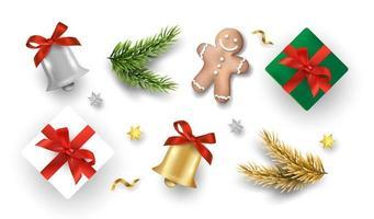 Joyeux Noël et bonne année design de fond avec belle bannière d'éléments. vecteur