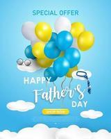 fond de fête des pères heureux ou bannière avec des éléments réalistes. vecteur