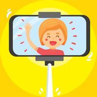 Fille Selfie sur le vecteur jaune
