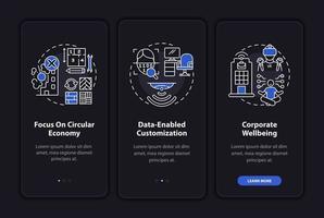 Écran de page de l'application mobile d'intégration de conception de bureau futuriste avec des concepts vecteur