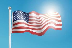 illustration du drapeau américain agitant dans le vent. vecteur