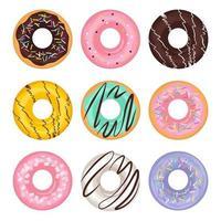ensemble de dessin animé de différents beignets de couleur dans un style plat vecteur