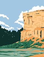 affiche wpa du monument national du pilier de pompeys vecteur