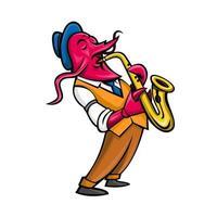 Musicien de jazz écrevisses jouant la mascotte du saxophone vecteur