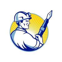 logo de mascotte de stylo plume mineur de charbon vecteur