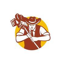 mascotte d'opérateur de caméra de cow-boy vecteur