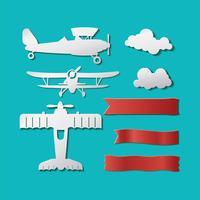 Avions de modèle ou biplan Hipster Set Style de papier de coupe vecteur