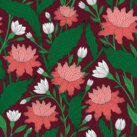 fond bordeaux avec des fleurs roses et blanches ondulées vecteur