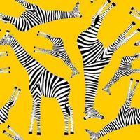 fond jaune avec des girafes qui veulent être des zèbres vecteur