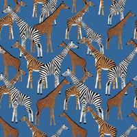 fond bleu avec des girafes qui veulent être des zèbres, des tigres et des léopards vecteur