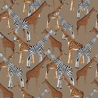 fond beige avec des girafes qui veulent être des zèbres, des tigres et des léopards vecteur