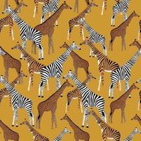 fond doré avec des girafes qui veulent être des zèbres, des tigres et des léopards vecteur