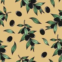 fond beige avec des branches d'olivier vecteur