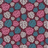 fond rose avec des feuilles de monstera colorées vecteur