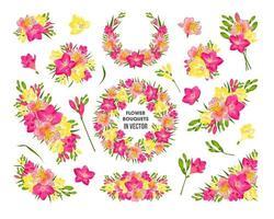 énorme ensemble d'arrangements floraux de freesias et d'alstroémères vecteur