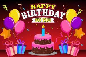joyeux anniversaire avec des ballons et un gâteau vecteur