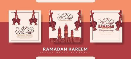 modèle de publication ramadan, ensemble de modèles de publication de médias sociaux vecteur