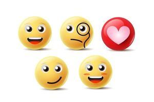 conception d'icône emoji avec sourire, en colère, heureux et une autre émotion de visage. vecteur