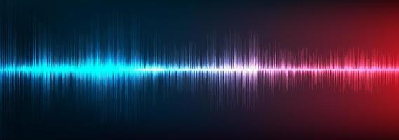 fond d'onde sonore numérique bleu et rouge vecteur