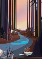 route dans la forêt de printemps au coucher du soleil. paysage de printemps en orientation verticale. vecteur