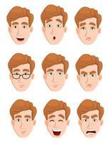expressions du visage d'un homme aux cheveux blonds vecteur