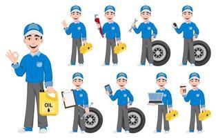 mécanicien automobile professionnel en uniforme vecteur