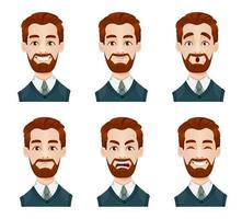 expressions de visage d'homme d'affaires vecteur