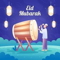 un homme célébrant eid mubarak avec bedug vecteur