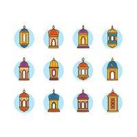 diverses lanternes eid magnifiquement conçues vecteur