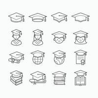 icône de chapeau de graduation ligne simple vecteur